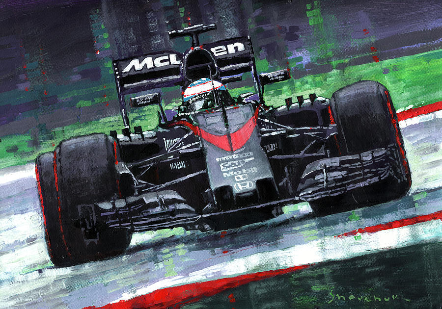 Paintings Painting - 2015 Mclaren Honda F1 Austrian Gp Alonso  by Yuriy Shevchuk