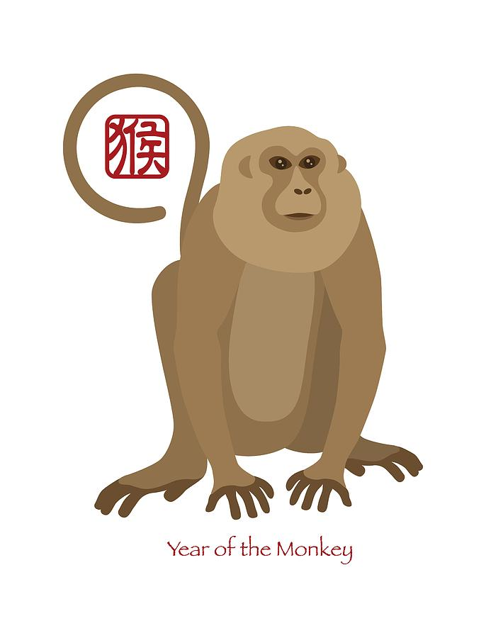 Chinese New Year; 2016; Monkey; Sitting; Lunar New Year; Chinese ...