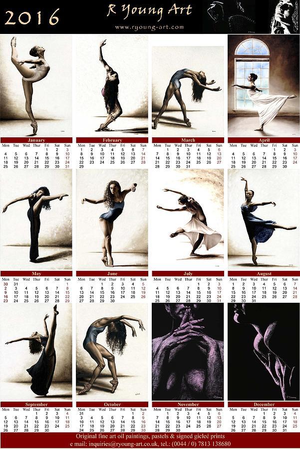Calendar Fine Art : High resolution r young art dance calendar painting