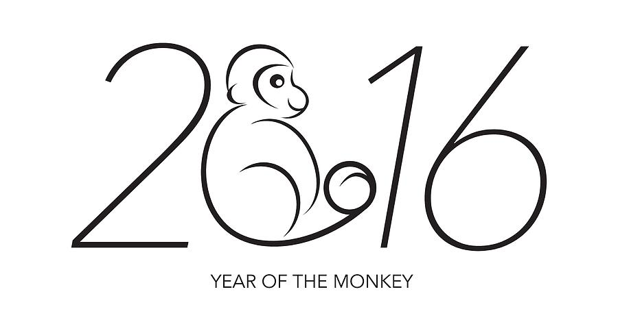 2016 year of the monkey numerals line art is a photograph by jit lim