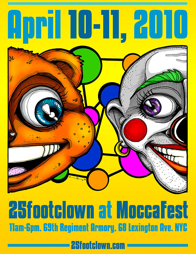 Clown Drawing - 25footclown Moccafest 10 Poster by Christopher Capozzi