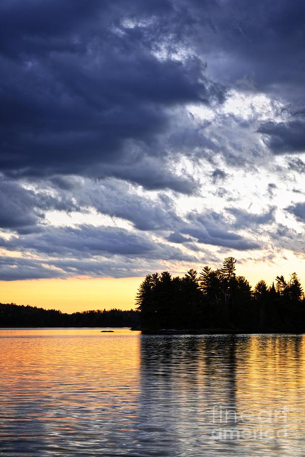 Sunset Photograph - Dramatic Sunset At Lake by Elena Elisseeva