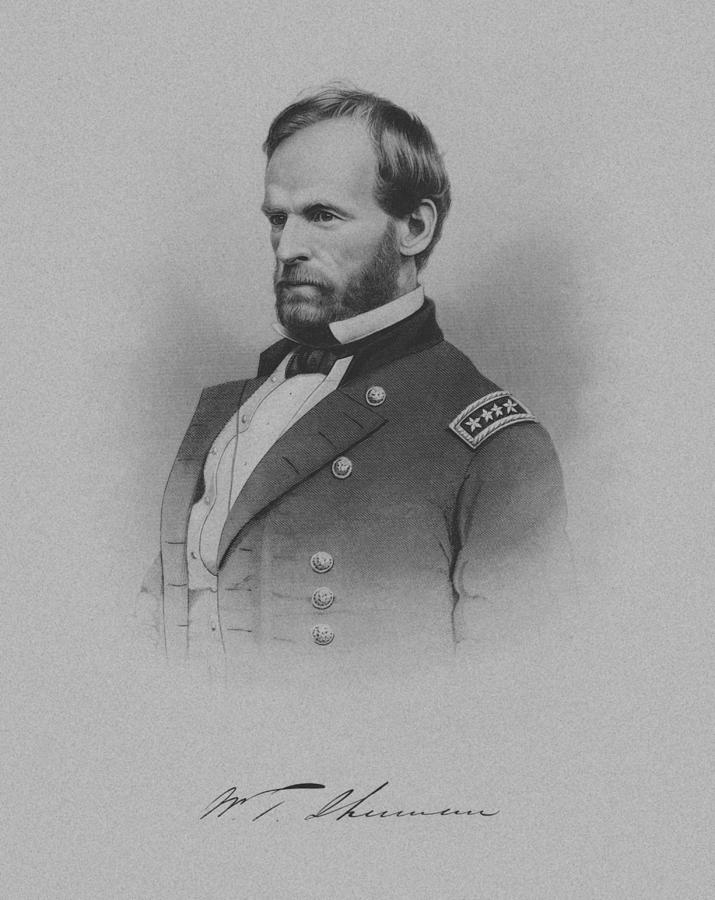 William Sherman Drawing - General William Tecumseh Sherman by War Is Hell Store
