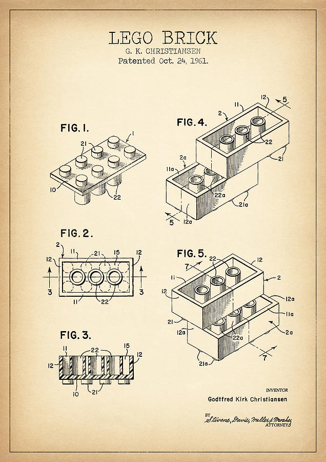 Lego Patent From 1961 Digital Art By Denny Coole