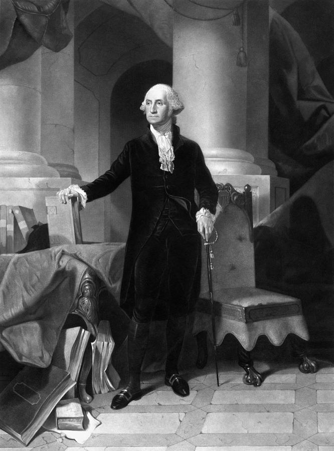 George Washington Drawing - President George Washington  by War Is Hell Store