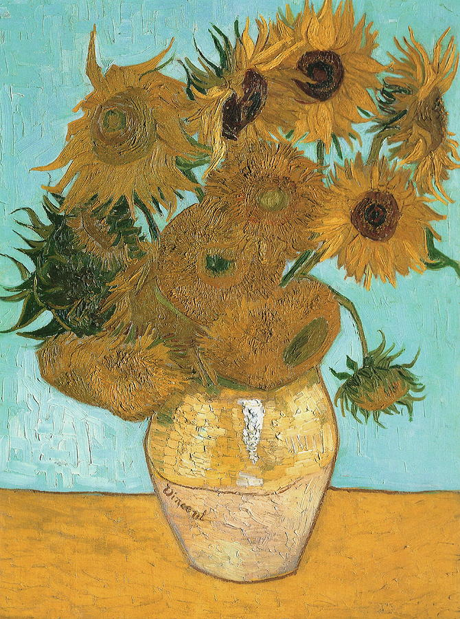 Vase With Twelve Sunflowers Painting