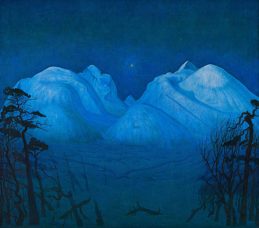 Winter Night In The Mountains Painting