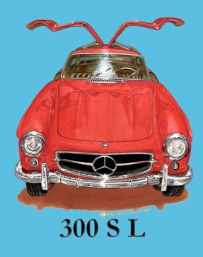 300 sl mercedes benz 1955 painting by jack pumphrey for Mercedes benz jack