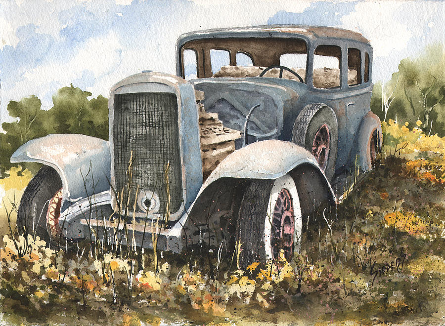 Automobile Painting - 32 Buick by Sam Sidders