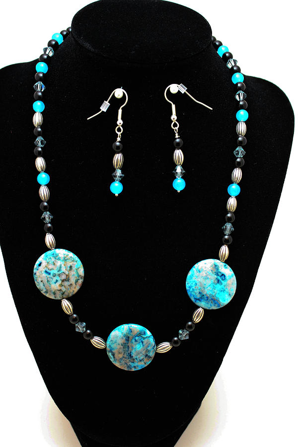 3517 Crazy Lace Agate Set Jewelry