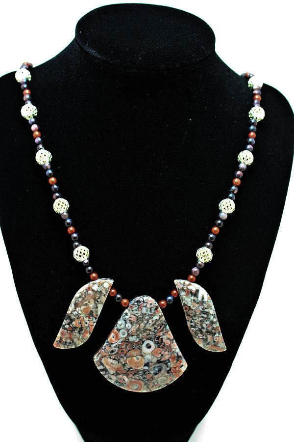 Jewelry Jewelry - 3521 Crinoid Fossil Jasper Necklace by Teresa Mucha
