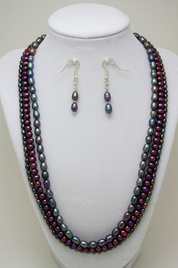Handmade Jewelry - 3562 Triple Strand Freshwater Pearl Necklace Set by Teresa Mucha