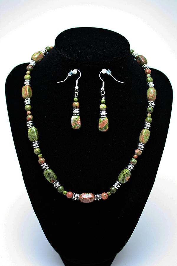 Handmade Jewelry - 3565 Unakite Necklace And Earrings Set by Teresa Mucha