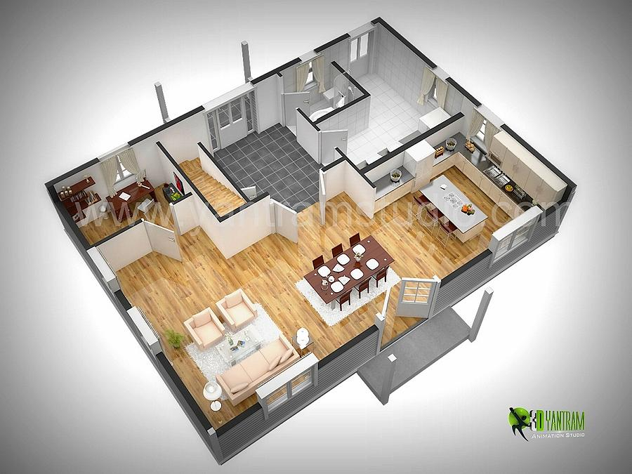 3d Floor Plan Rendering Design Digital Art By Yantram Studio