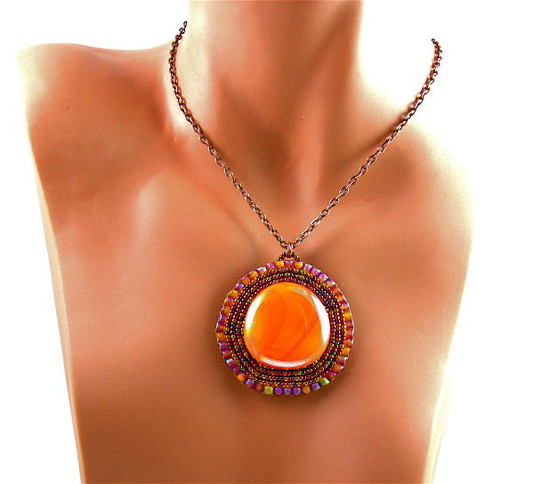 Bead Embroidery Jewelry - 3fine Design Mayan Sunset Beaded Cabochon by Tracy Behrends