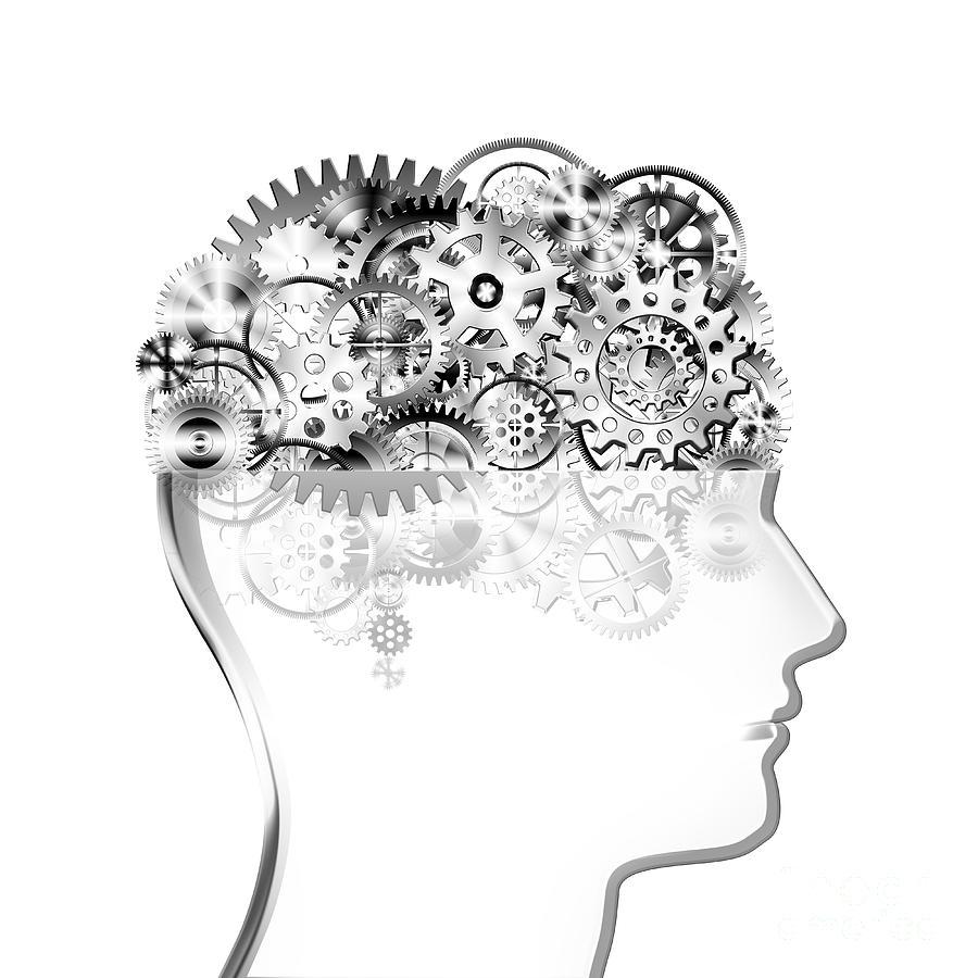 Art Photograph - Brain Design By Cogs And Gears by Setsiri Silapasuwanchai