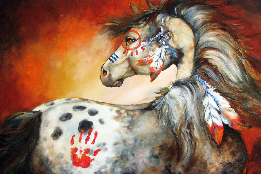 4 Feathers Indian War Pony Painting
