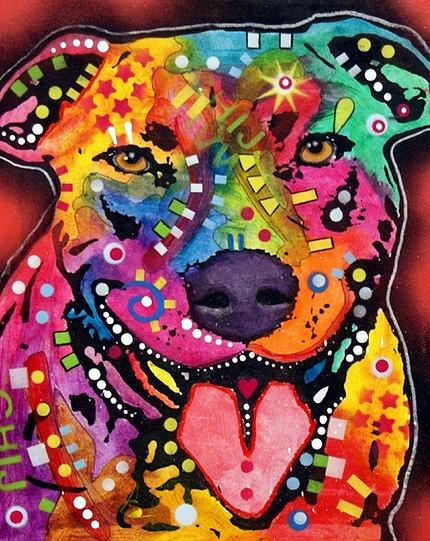 dean Russo Painting Dog Dogs Portrait Graffiti pop Art Pet Pitbull pit Bull Bully Pit Pits Pop Painting - Happy Bull by Dean Russo