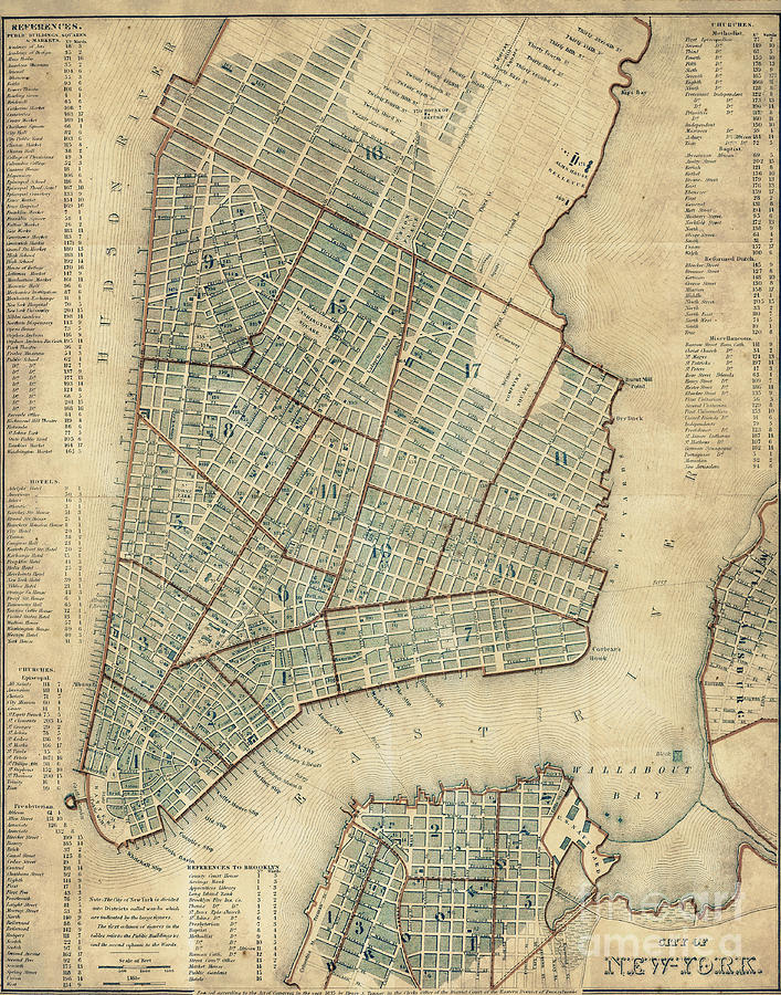 Manhattan New York Antique Vintage City Map Photograph By