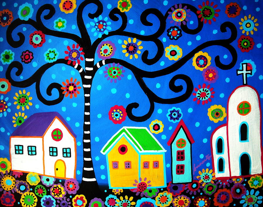 Day Of The Dead Painting - Mexican Town by Pristine Cartera Turkus