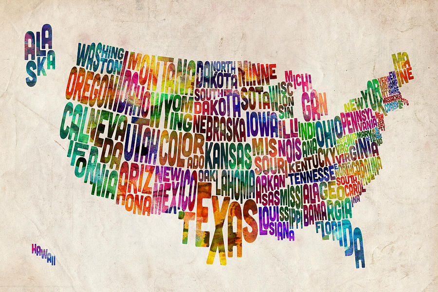 Usa Map Digital Art - United States Text Map by Michael Tompsett
