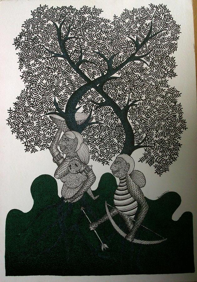 Gond Art Painting - Untitled by Mayank Shyam