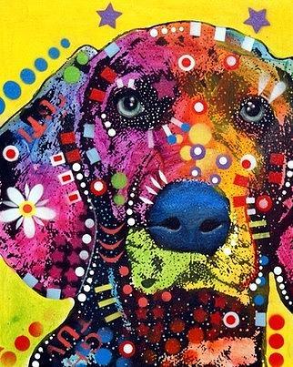 dean Russo Painting Dog Dogs Portrait Graffiti pop Art Pet Etsy Weimaraner Weim Weims Pop Pets Painting - Weimaraner by Dean Russo