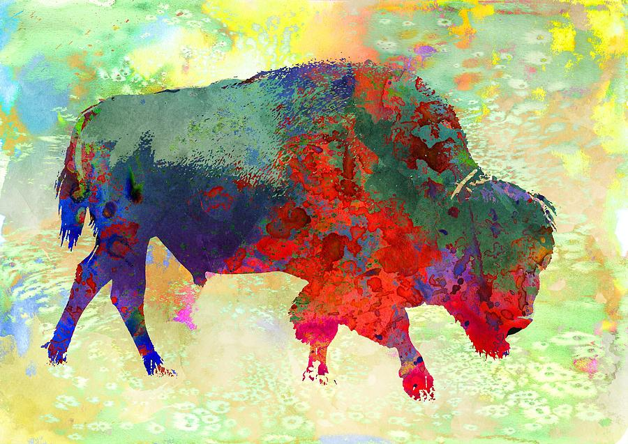 Bison - Colorful Animal is a piece of digital artwork by Michael Vicin ...