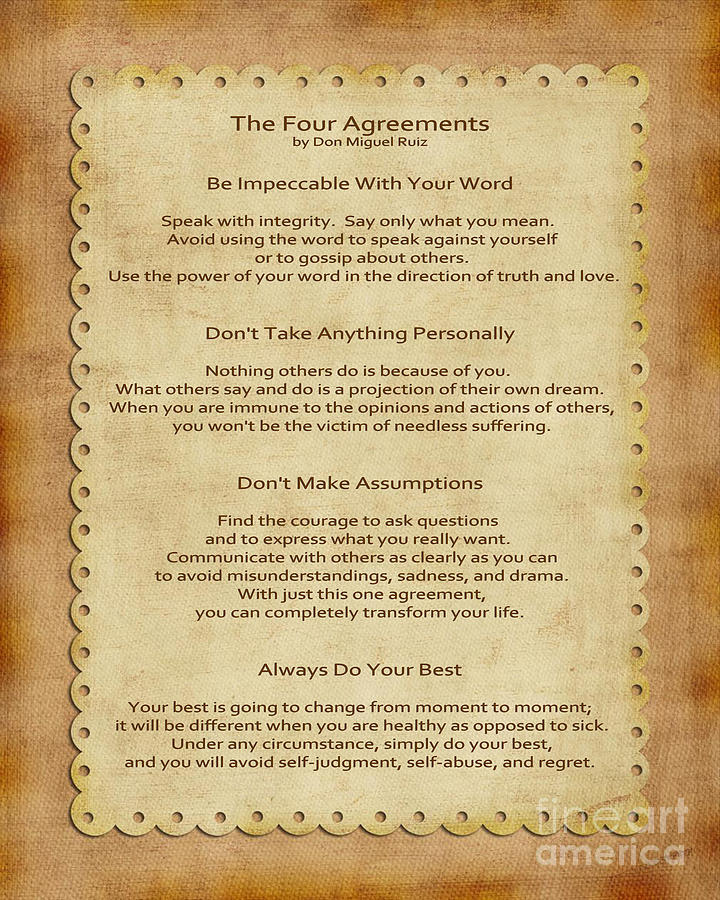 The Four Agreements Photograph - 41- The Four Agreements by Joseph Keane