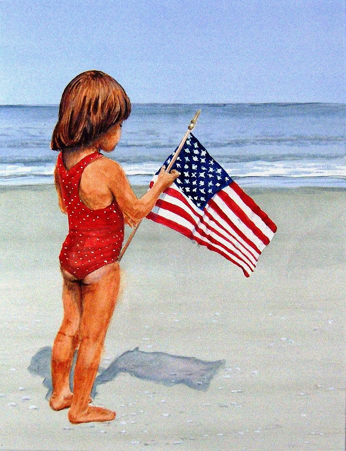 Little Girl And Flag Painting - 4th Of July by Haldy Gifford