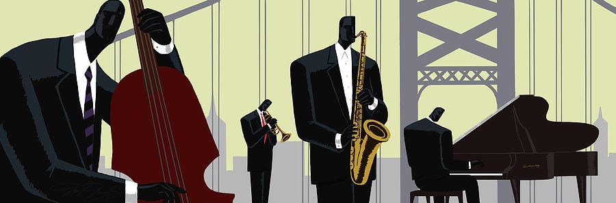 Music Painting - 4th Street Bridge Quartet  by Darryl Daniels