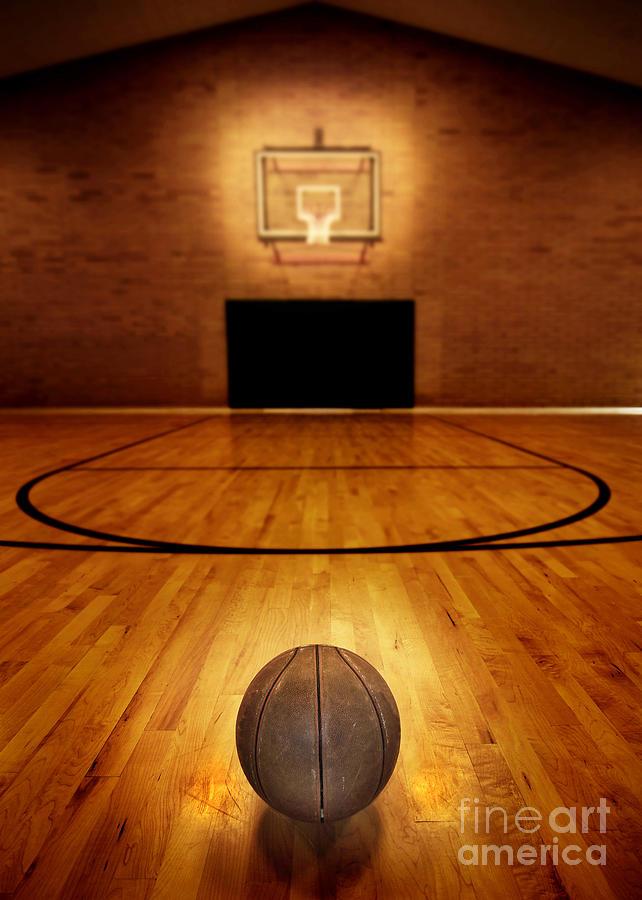 Basketball And Basketball Court Photograph