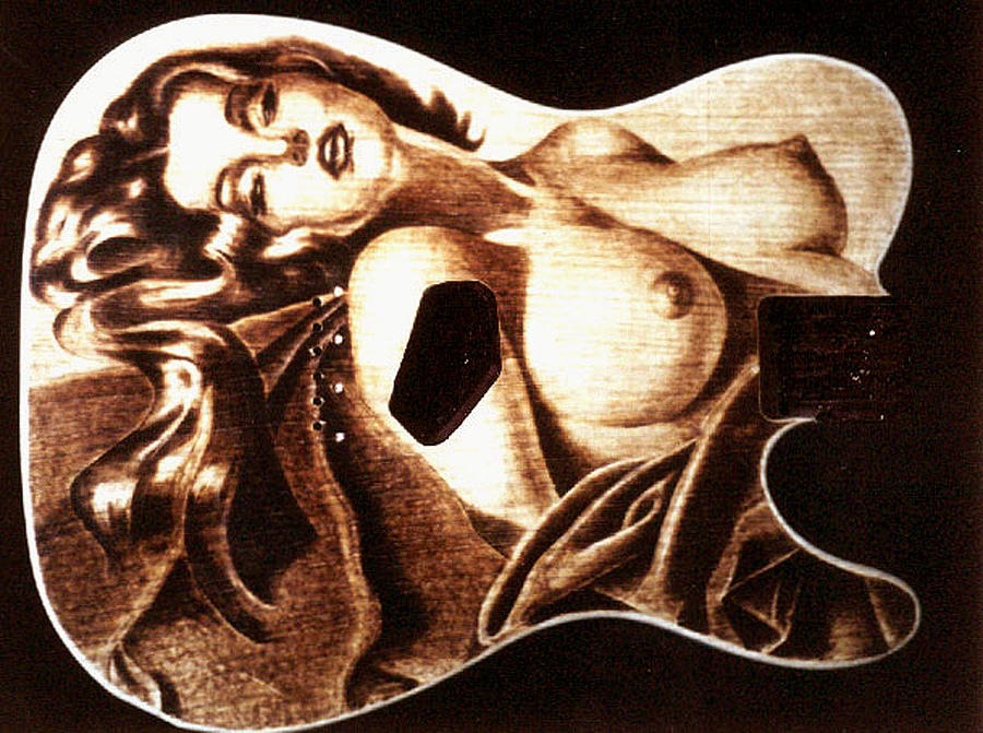 Custom esp guitar pyrography by dino muradian