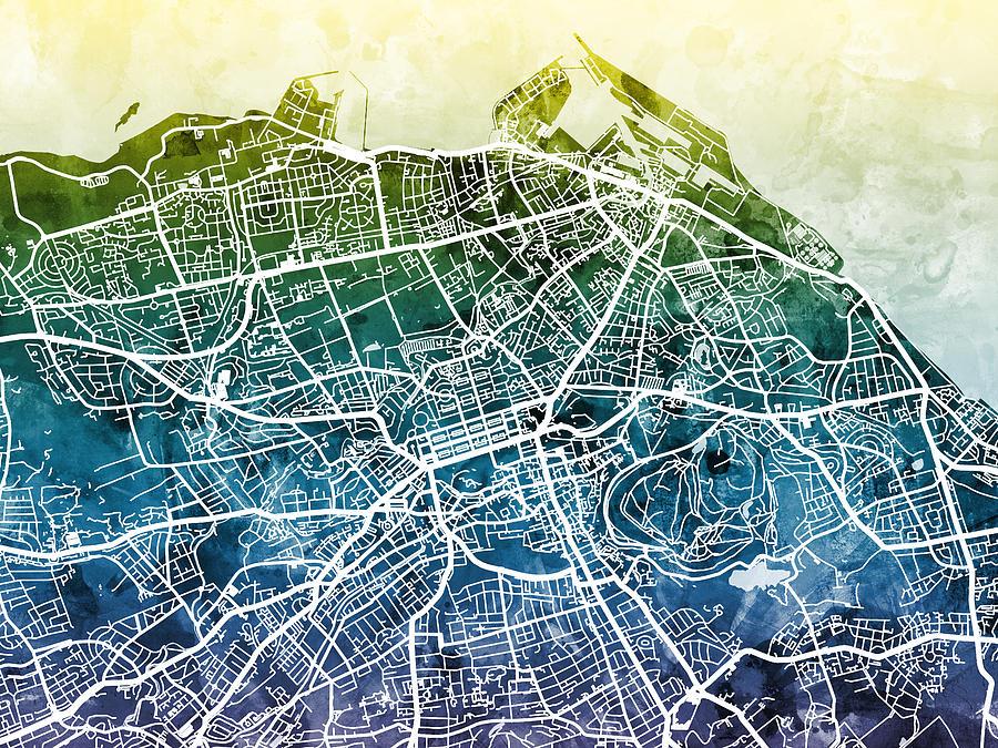 Edinburgh Street Map Digital Art By Michael Tompsett