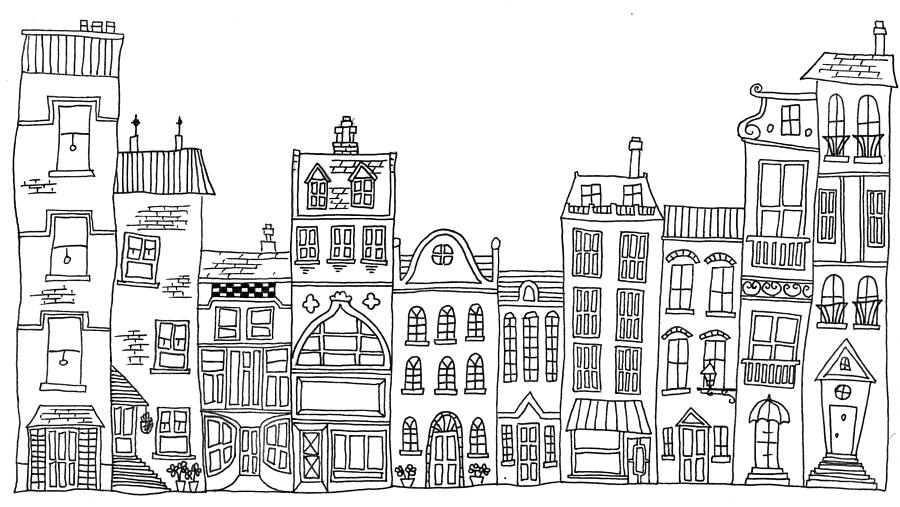 Line Art Building : Hand drawn line drawings of various whimsical houses shops