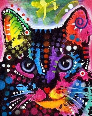 dean Russo Painting Cat Cats Feline Portrait Graffiti pop Art Pet Pets Pop Kitty Kittie Painting - Maya by Dean Russo