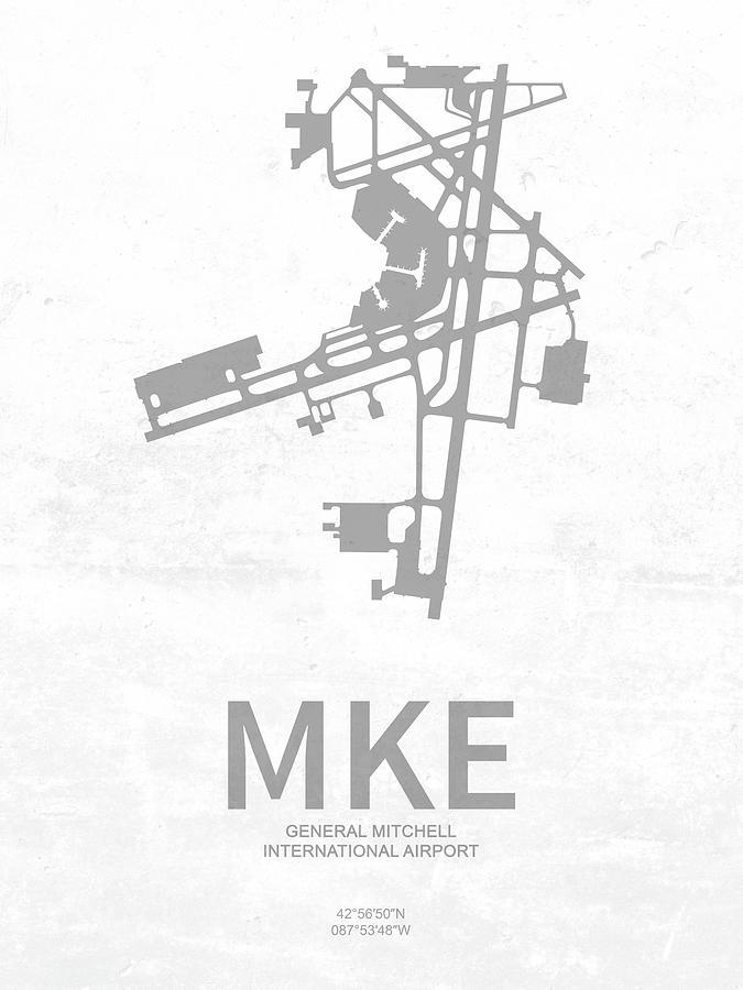 Mke General Mitchell International Airport In Milwaukee Wisconsi Digital Art