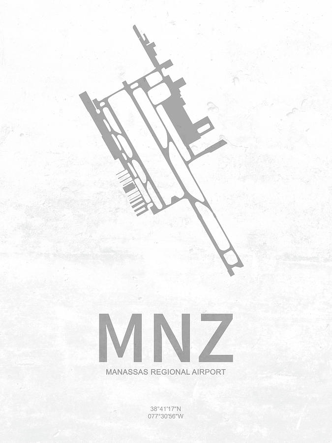 Mnz Manassas Regional Airport In Manassas Usa Runway Silhouette Digital Art
