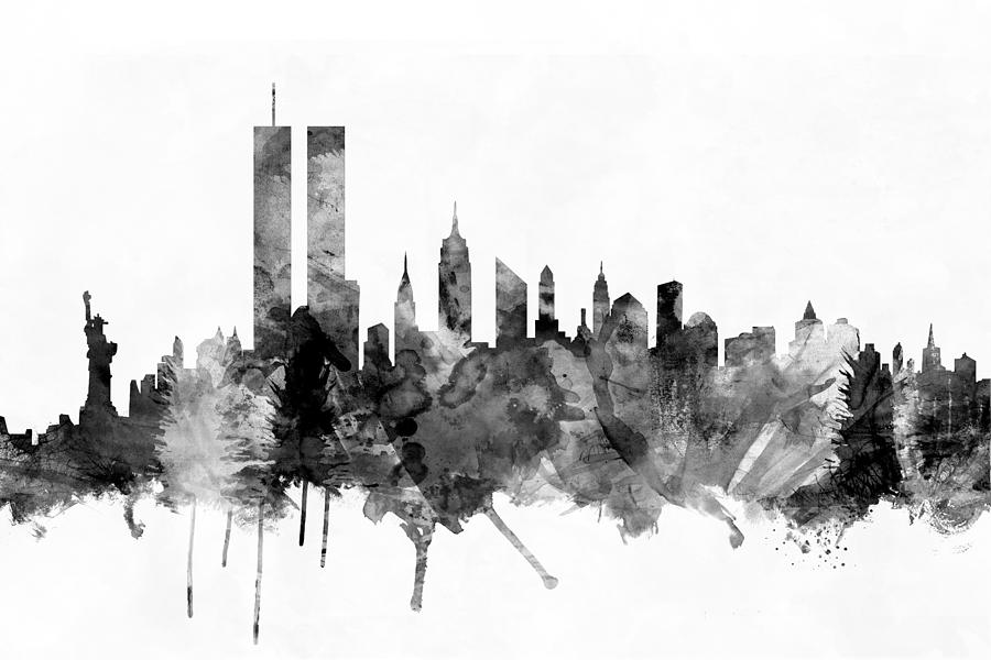 New york city skyline drawing pictures to pin on pinterest for New york skyline painting