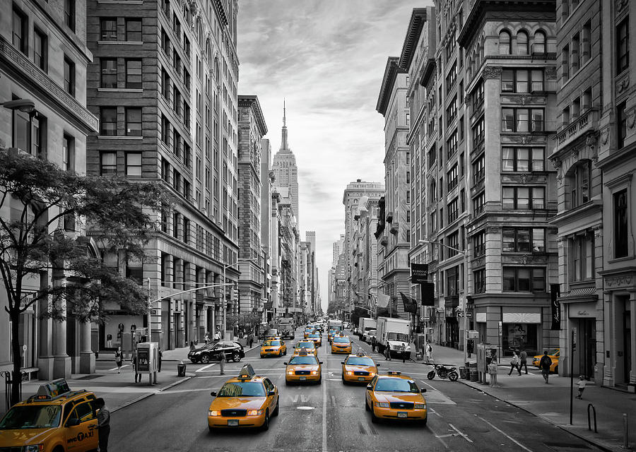 America Photograph - 5th Avenue Yellow Cabs - Nyc by Melanie Viola