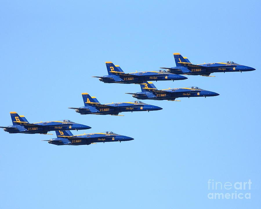 Sf Photograph - 6 Blue Angels Jetting Through The Sky by Wingsdomain Art and Photography