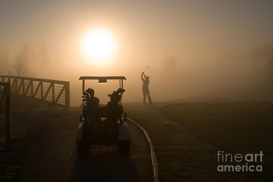 California Golf Course Sunrise Morning Golfers Photograph