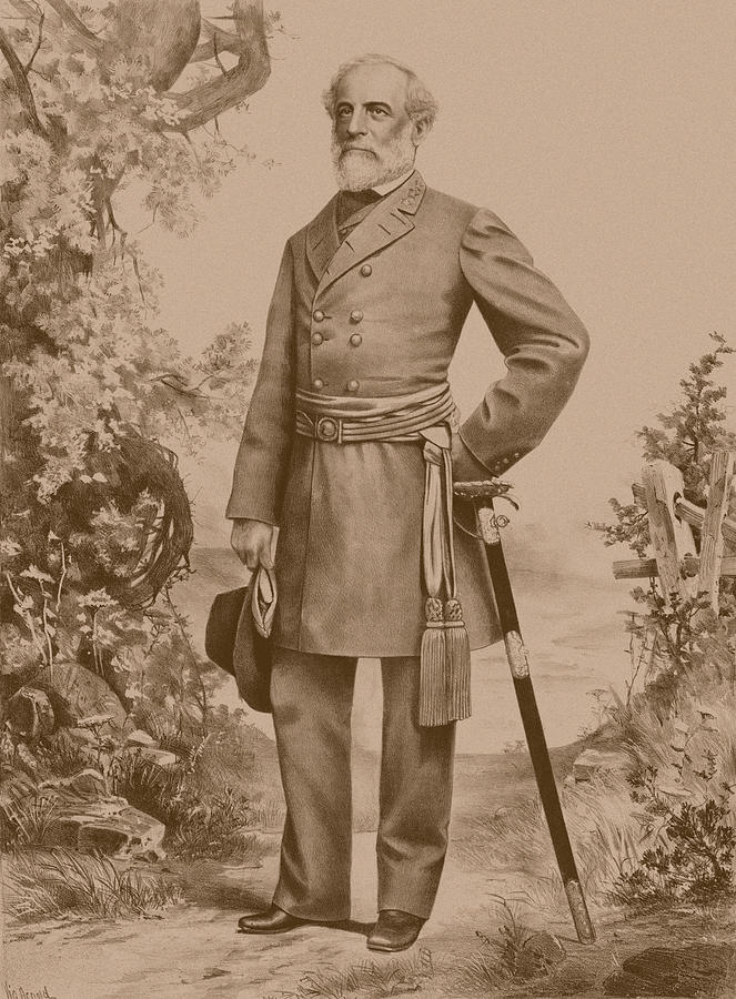 Robert E Lee Drawing - General Robert E. Lee by War Is Hell Store