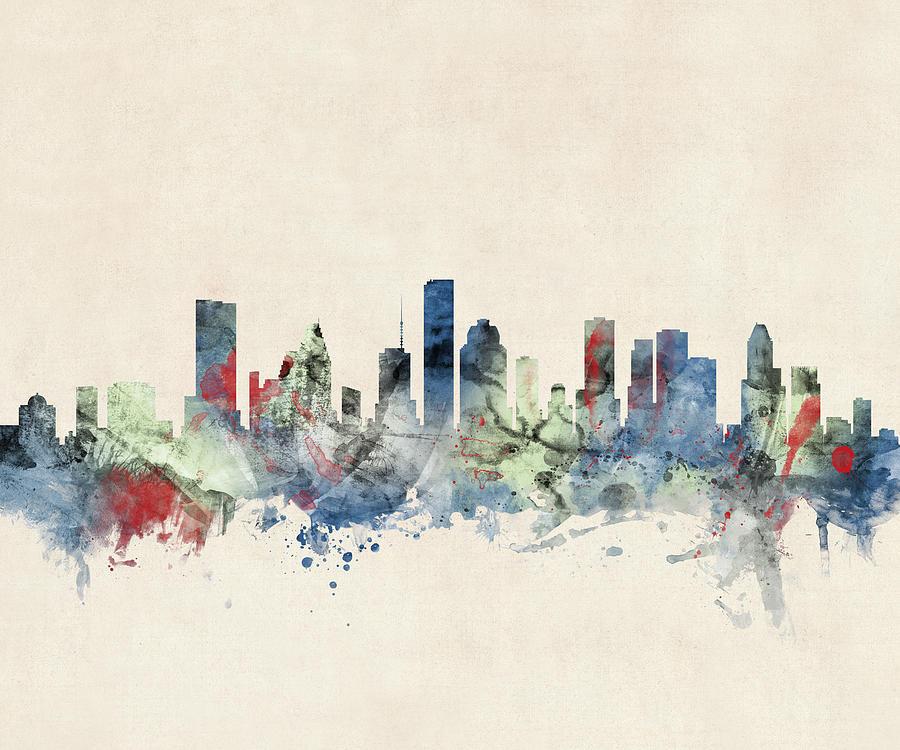 Houston Texas Skyline Digital Art By Michael Tompsett