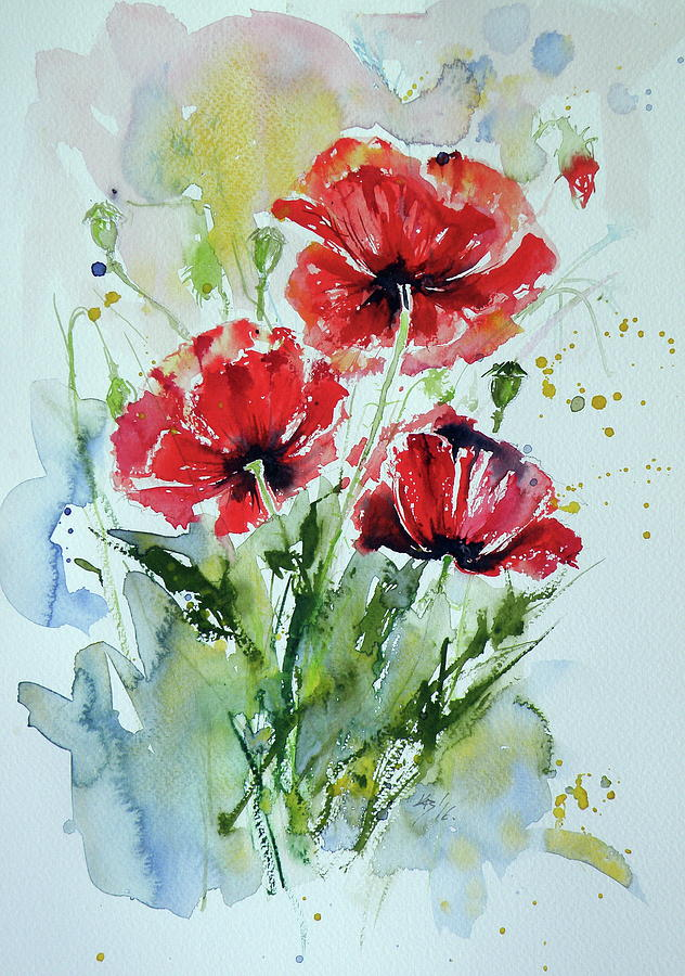 Poppies Painting By Kovacs Anna Brigitta