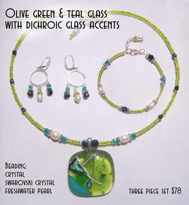Fused Glass Glass Art - Olive Green And Teal Glass With Dichroic Accents by Michelle Lake