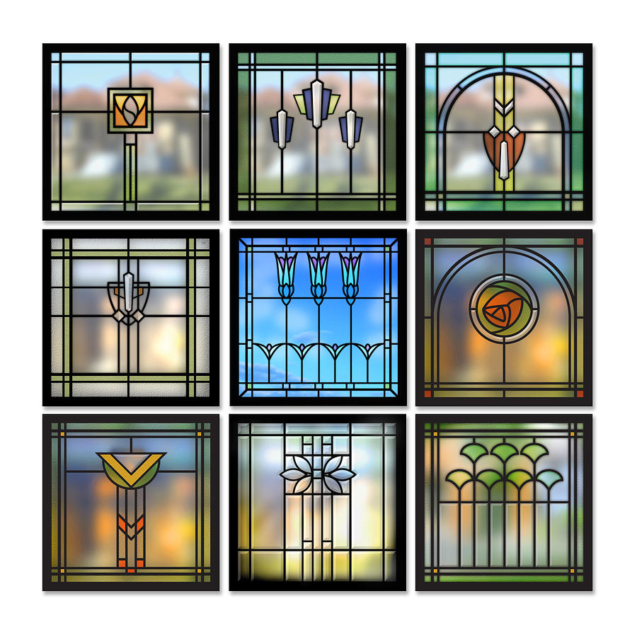 9 bungalow windows digital art by geoff strehlow for Art glass windows and doors
