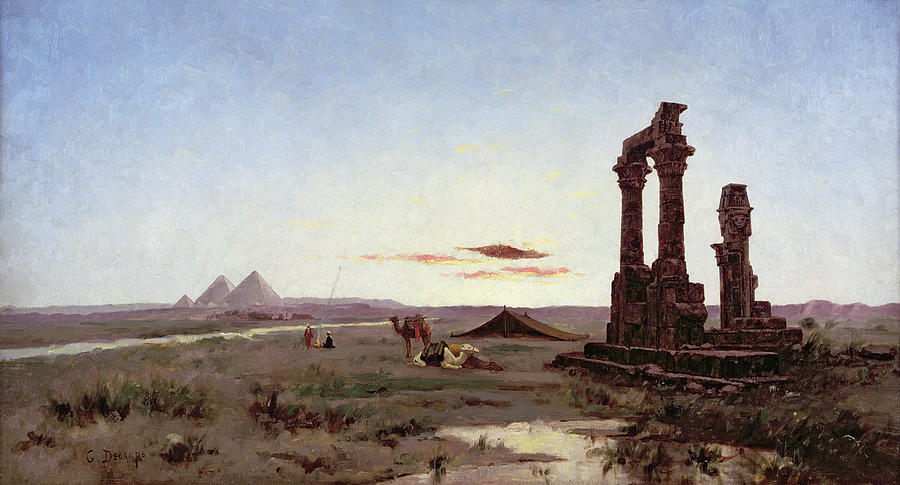 A Bedouin Encampment By A Ruined Temple  Painting