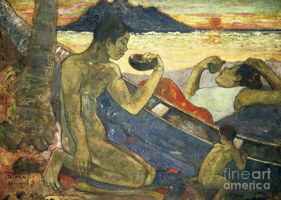 A Canoe (tahitian Family) Painting - A Canoe by Paul Gauguin