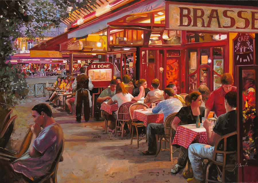 Street Scene Painting - A Cena In Estate by Guido Borelli